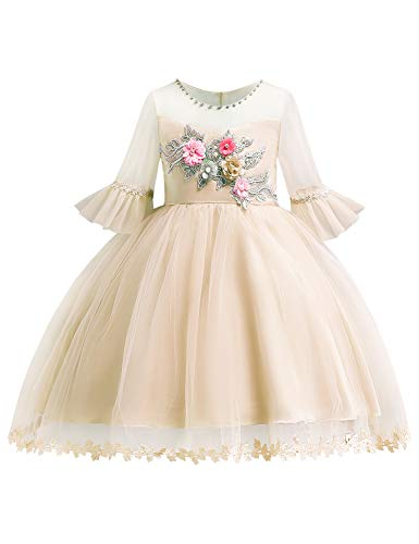 Beaded Embroidered Suit - Blevonh Girl Wedding Dresses Toddler Big Girls Beaded Cute Dressed Floral-Embroidered Chiffon Illusion Neck Big Child Gown Size(140) 7-8 Years Champagne Dresses
