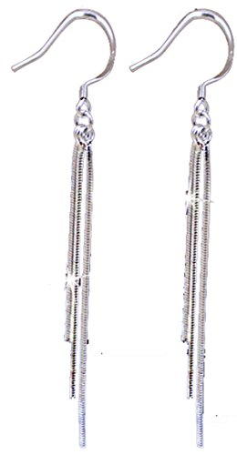 Vintage Long Earings 925 Sterling Silver Pin Tassel Fashion Jewelry for Women (Vintage Pin Earrings)