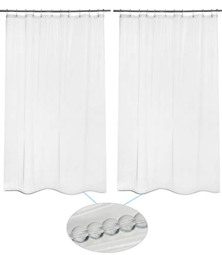 AmazerBath 2 Pack Thin Shower Curtain Liners, 72 W x 78 H PEVA 3G Shower Curtains with Heavy Duty Beads and 12 Rust-Resistant Grommet Holes, Waterproof Odorless Plastic Liners - Clear