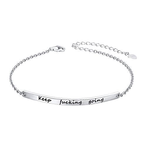 ALPHM S925 Sterling Silver Inspirational Gifts for Women Girl Adjustable Keep Going Bracelet Bangle Friendship Mantra Come Men Boy Mothers Gift Box Graduation Gift (Mens Id Sterling Silver Bracelet)