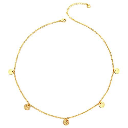 18K Gold Coins Necklace Choker with Round Disc Geometric Statement Necklace for Women ()
