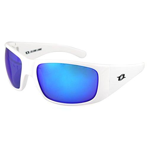 Clear Lake Montana Mens Polarized Sport Sunglasses White Wraparound Frame Smoked Gray w/ Blue Mirror - Sunglasses White Wrap Around