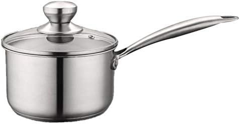 強化ガラス製のふたとハンドルが付いた鍋ふた付きステンレス製牛乳鍋 便利さ (色 : Silver, サイズ : 16cm)
