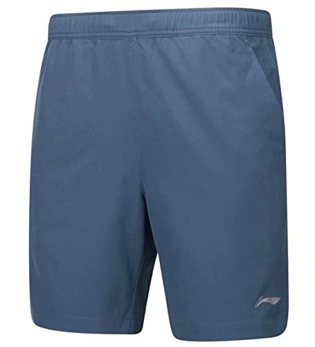 Badminton Clothing - LI-NING Men Badminton Shorts Breathable 91% Polyester 9% Spandex Elastic Lining Competition Sports Shorts Blue AAPP063 Size M