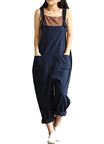 Womens Linen (YAELUCKY Women Cotton Linen Overalls Adjustable Strap Pattern Sleeveless Jumpsuit With Pockets Blue (M))