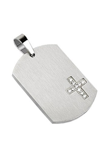 - Stainless Steel Dog Tag with Multi Simulated Diamonds Paved Cross (Engravable) -Crazy2Shop