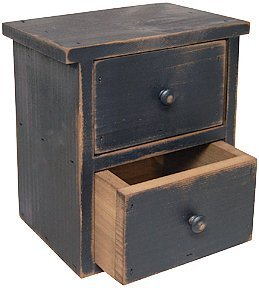 Black Distressed Wood Farmhouse Drawers Country Primitive Storage D Cor