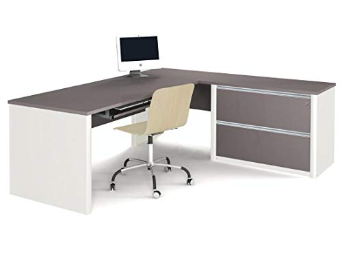 Bestar L-Shaped Desk with Assembled lateral File Cabinet - Connexion