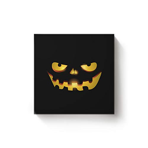 BMALL Art Oil Painting Halloween Pumpkin Lantern Face Art Hand Painted on Canvas Ready to Hang for Home Wall Decor 28x28inch]()
