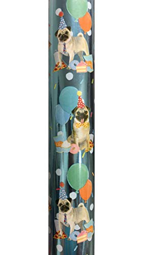 Molly & Rex Pug Birthday Party Continuous Metallic Gift Wrap Wrapping Paper Roll 66268