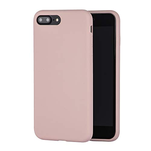 LIRAMARK Liquid Silicone Soft Back Cover Case for Apple iPhone 7 Plus / 8 Plus  Pink Sand