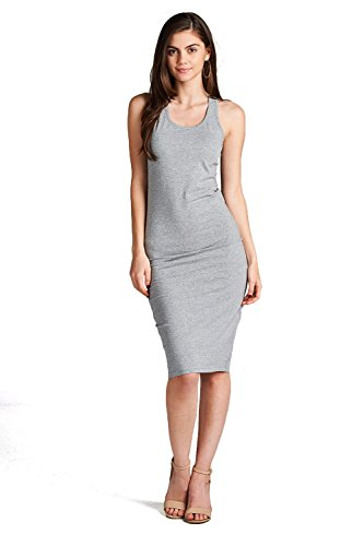 (Emmalise Women's Classic Basic Sleeveless Tank Dress with Racerback Mid Length (Heather Grey,)