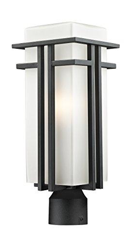 Bk Opal Matte - Z-Lite 549PHB-BK-R Outdoor Post Light with Matte Opal shade, Aluminum Frame