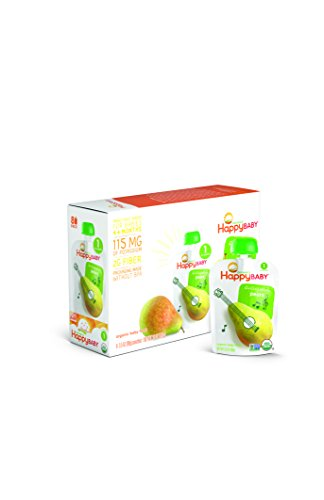 Happy Baby Organic Stage 1 Baby Food, Starting Solids, Pears, 3.5 oz (Pack of 8)