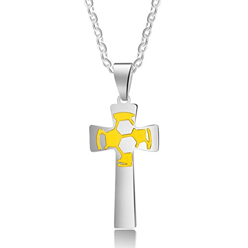 Lam Hub Fong Personalized Soccer Cross Necklaces Pendant for Boys Custom Engraving Mens Stainless Steel Football Cross Name Necklace (Without -