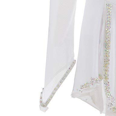 Pattinaggio Cristalli Lingxu Di Concorso Figura Abiti Su Maniche Bianco Lunghe A Vestito Donne Mano Per Costume Da Ragazze Ghiaccio qZZCdwx