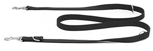 Vitazoo Premium Hundeleine in Graphitschwarz, massiv und verstellbar in 4 Längen (1,4 m - 2,1 m), für große und kräftige Hunde | Hundeführleine, Doppelleine, geflochten mit 2 Jahren Zufriedenheitsgarantie