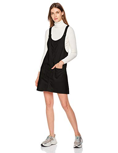 Lily Parker Womens Casual Short Denim Pinafore Bib Overall Dress Pockets Black M ()