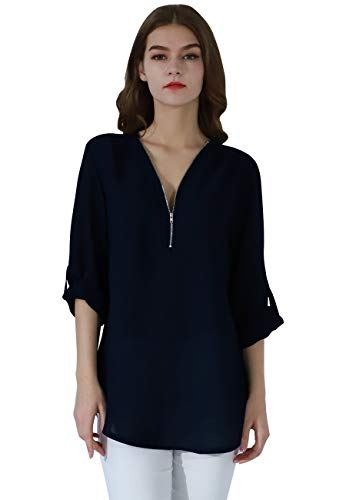 Luxe V-neck Sweater - OMZIN Women's Casual Zip Sexy V-Neck Blouse Loose Top Tunic Shirt Navy Blue XL