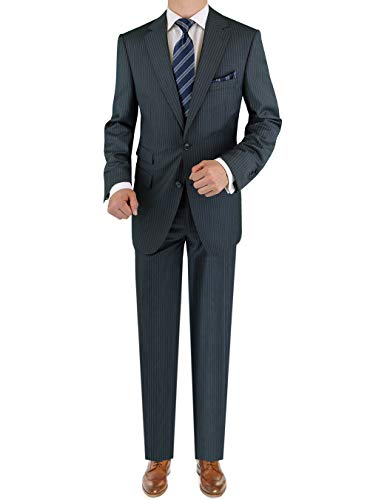 LN LUCIANO NATAZZI Italian Men's Suit 180'S Cashmere Wool Ticket Pocket Stripe (38 Short US / 48S EU/W 32