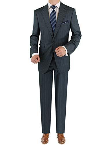 - LN LUCIANO NATAZZI Italian Men's Suit 180'S Cashmere Wool Ticket Pocket Stripe (44 Regular US / 54R EU/W 38