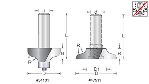 Amana Tool 54131 Carbide Tipped Ogee 11/32 R x 1-3/4 D x 11/16 CH x 1/2 Inch SHK w/Lower BB Router Bit for 1-3/4 Material