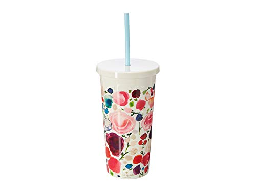 Kate Spade New York Insulated Plastic Tumbler With Reusable Silicone Straw, 20oz, Floral
