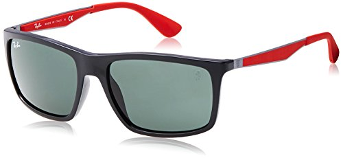 (Ray-Ban Men's RB4228M Scuderia Ferrari Collection Rectangular Sunglasses, Black/Green, 58 mm)