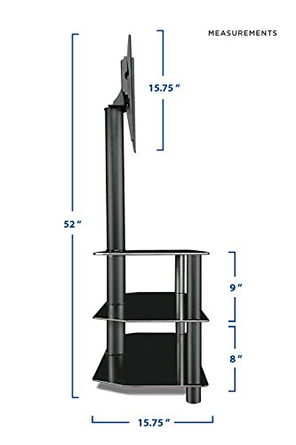 amazoncom mountit tv center stand with mount and glass shelves for audio video black kitchen u0026 dining - Tv Mount With Shelf