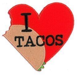 (Evilkid I Heart Tacos PATCH, Iron-On / Saw-On, Carded & Packaged Individually - 3.25