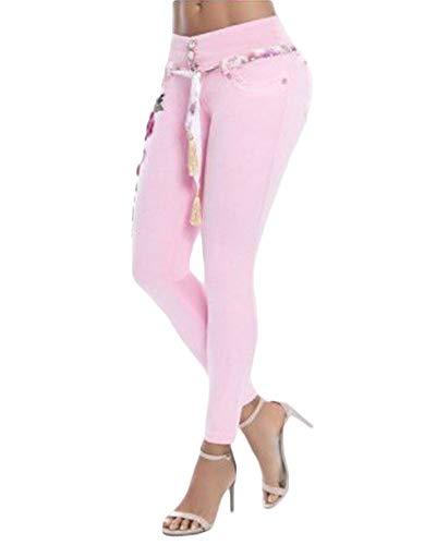 Elástico Flores Skinny Slim Pink Mezclilla Jeans Bordadas Yonglan Vaqueros Mujeres Pantalones wtY5TX