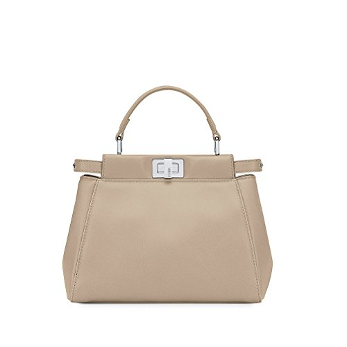 Fendi Mini Peekaboo Beige Leather Handbag Made in Italy