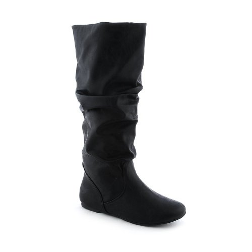 Soda Women's Zuluu Slouchy Faux Leather Knee HIgh Flats Boots - stylishcombatboots.com
