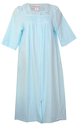 (Miss Elaine Women's Cotton Blend Seersucker Lounge Dress/Long Robe (Aqua with Bodice Embroidered White Teal Vine Swirl Floral, Medium))