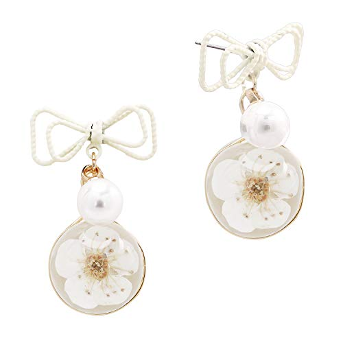 VVANT Earrings for Women with Natural Pressed Real Flowers Hanging Earrings Fashion Gifts for Valentine's Day/Birthday/Daily (Plum Blossom) - Hanging Fashion Earrings
