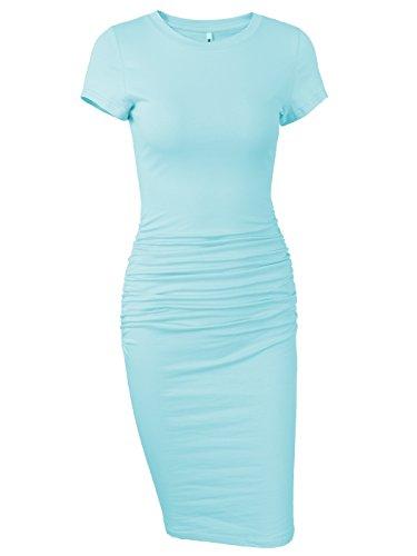 Missufe Women's Ruched Casual Sundress Midi Bodycon Sheath Dress (Light Blue, Small)