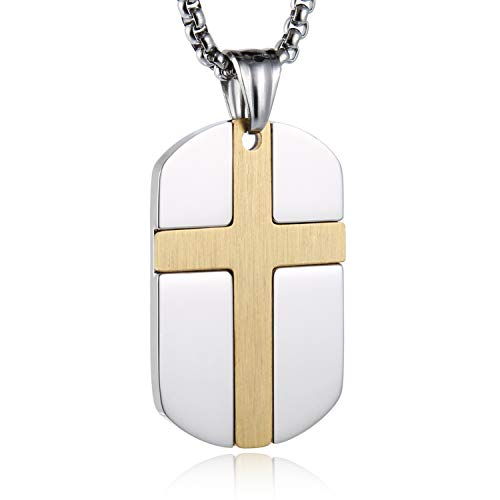 HZMAN Isaiah 41:10 Jewelry, Stainless Steel Cross Dog Tag Necklace Strength Bible Verse (Silver & Gold)