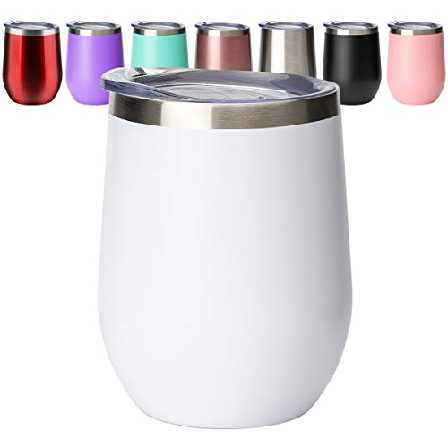 Civago Insulated Wine Tumbler Glass with Lid, White, 12 oz Stemless Stainless Steel Double Wall Vacuum Wine Cup Mug for Wine, Coffee, Drinks, Champagne, Cocktails, Gifts