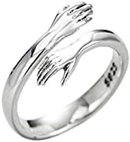 1/2/4 Pcs New 925 Sterling Silver Jewelry Love Hug Ring, Adjustable Romantic Love Hugging Hands Open Ring Suit
