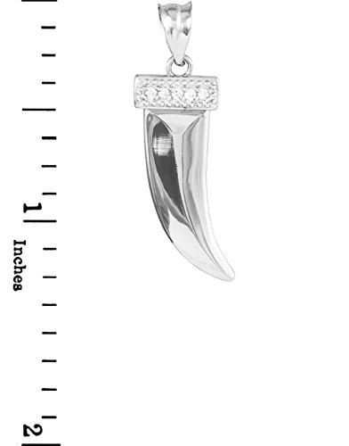 10 ct 471/1000 Or Blanc Tigre Dent Avec Diamants Pendentif