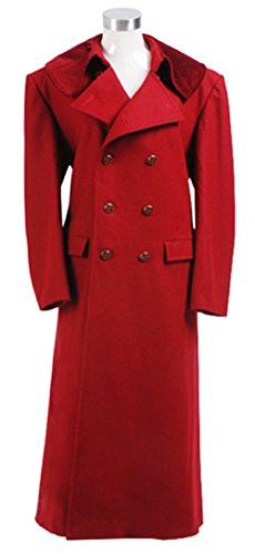Cosdaddy 2017 6th Doctor Dr Who Sixth Dark Red Long Trench Wool Coat 55112606 (XXXL) by CosDaddy (Image #1)