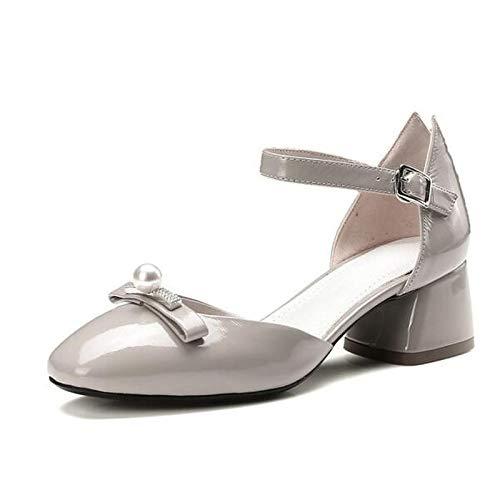 ZHZNVX Zapatos de Mujer Nappa Leather Spring Bomba básica Tacones Chunky Heel Black/Gray / Red Gray