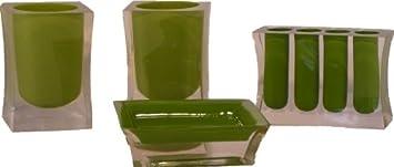 Bad-Accessoires-Set, 4-teilig, oliv-grün