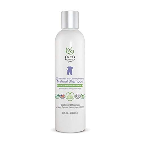 (Pura Naturals Pet - Tearless & Calming Puppy Shampoo, Natural Shampoo, Made with Organic Lavender Oil, No Synthetic Dyes, Sulfate-Free, No Chemical Foaming Agent, Tear Free Formula   8 fl oz)
