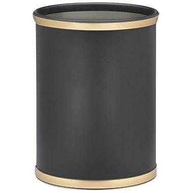 Kraftware Sophisticates Black/Brushed Gold Brass Waste Basket with 3/4-Inch Bands and Brass Bumper