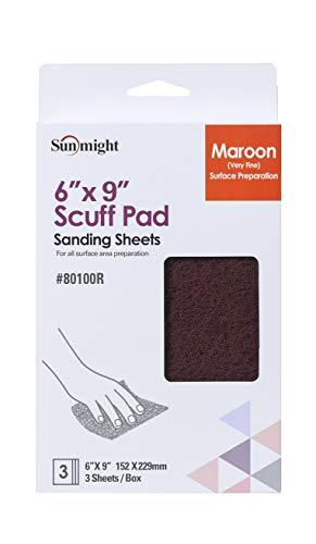 Sunmight Scuff Pad Retail Pack 6″ x 9″ Maroon Pad, 80100R, 3 Pads