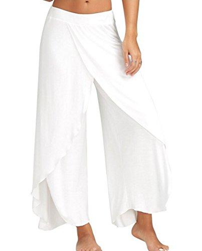 Gueuusu Womens Knit Capri Culottes Pants Wide Leg Flared Capri Boho Gaucho Pants Palazzo Pants (2XL, - Jersey Knit Gaucho Pant
