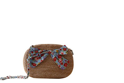 Bag Cross Bowknot Handmade Shoulder Dot Straw Message Brown Body Boho Floral Beach U4xwqx0S