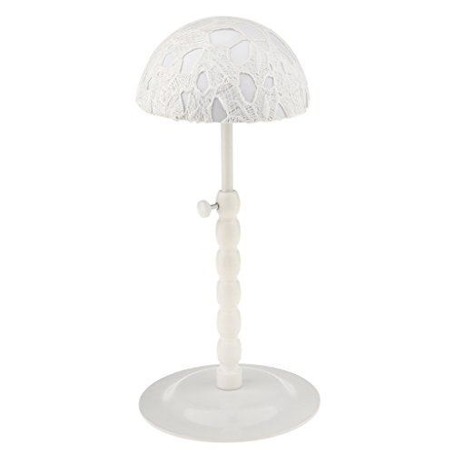 MagiDeal Adjustable Height Metal Hair Wigs Sports Baseball Cap Hat Holder Showcase Display Storage Stand Rack with Non Slip Lace - White