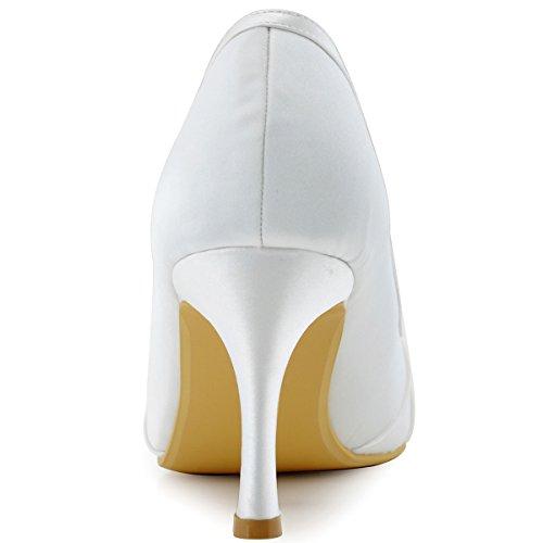 ElegantPark EP2094AF Mujer Peep Toe Plisado AF Desmontable Zapatos Clips El tacón alto Satén Noche Zapatos de Baile Blanco